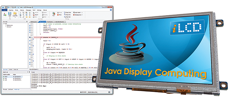 Image shows iLCD Manager's complete Java development environment and an iLCD running the Java VM