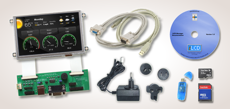 iLCD Evaluation Kits with iLCD Panel with Touch Screen, Cabling, Power Supply, microSD Card Set and CD